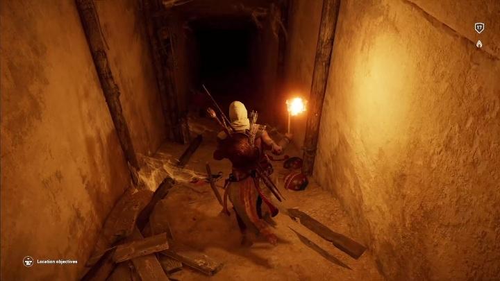 Idz prosto, w pewnym momencie będziesz musiał zeskoczyć z drogi, po której szedłeś - Grobowiec Chefrena - Tomb of the Khafre | Giza | Grobowce - Assassins Creed Origins - poradnik do gry