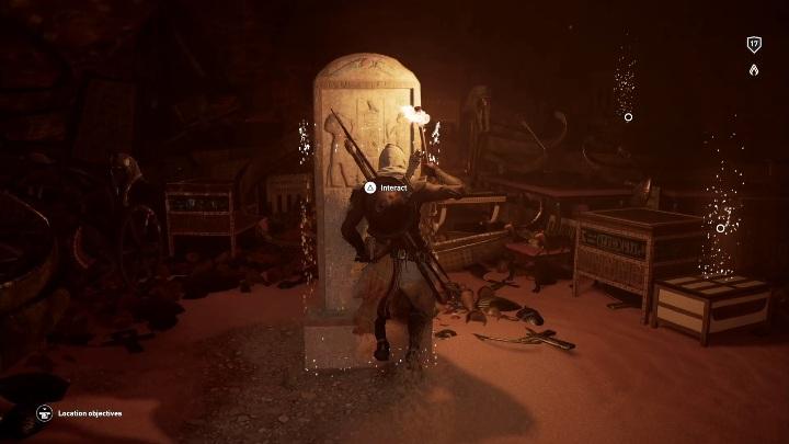 Dotrzesz do pomieszczenia z tablicą - Grobowiec Wyznawcy Thota - Adorer of Thoth Tomb | Giza | Grobowce - Assassins Creed Origins - poradnik do gry