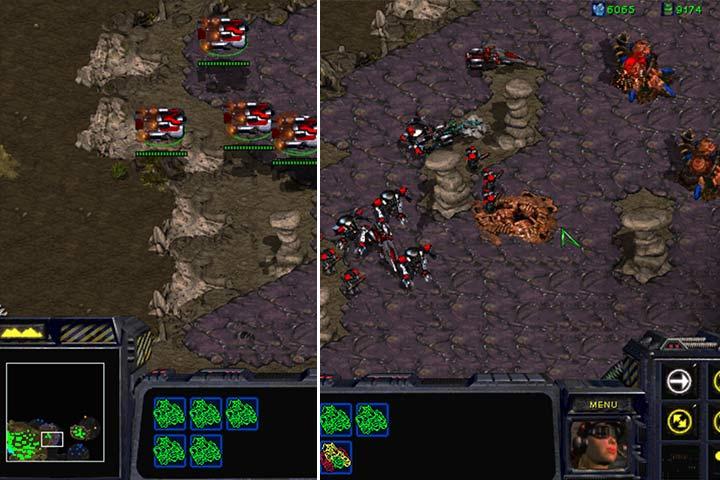 Część prawej krawędzi płaskowyżu nieopodal twojej bazy nie jest strzeżona przez wieżyczki przeciwlotnicze. Przeprowadź desant swoich wojsk i zniszcz nielicznych wrogów, którzy mogą zagrozić twoje armii lądowej. - Misja 6 - Norad II | Kampania Terran - StarCraft: Remastered - poradnik do gry