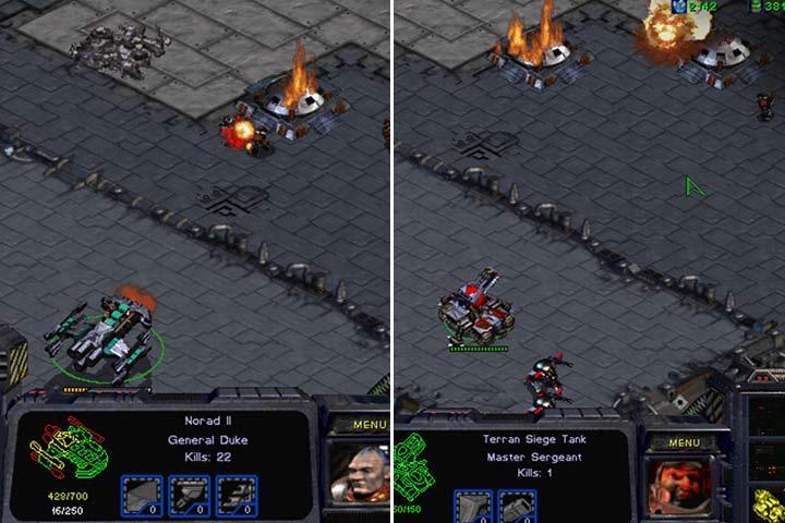Oczyść wzniesienie po prawej stronie używając Battlecruisera i rozstaw tutaj czołgi w trybie artyleryjskim. - Misja 8 - The Big Push | Kampania Terran - StarCraft: Remastered - poradnik do gry