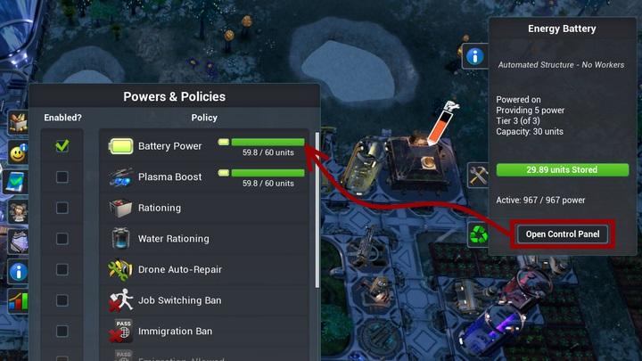 Z poziomu menu budynku, możesz otworzyć panel, który zezwoli na korzystanie z baterii. - Elektryczność | Podstawy - Aven Colony - poradnik do gry