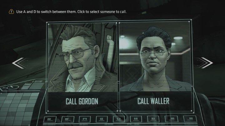 Teraz musisz zadzwonić po pomoc do Gordona lub Waller. W zależności od wyboru, odbędziesz nieco inny dialog. - Rozdział 1 - A Threat Rises | Epizod 2 - The Pact - Batman: The Telltale Series - The Enemy Within - poradnik do gry