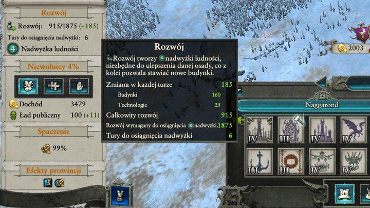 Dokładne informacje odnośnie tempa rozwoju możesz znaleźć w panelu prowincji po najechaniu na wskaźnik rozwoju. - Rozwój osad i klimat prowincji | Rozgrywka na mapie kampanii - Total War: Warhammer II - poradnik do gry