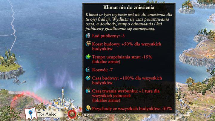 Niektóre prowincje będzie ci znacznie ciężej skolonizować. - Rozwój osad i klimat prowincji | Rozgrywka na mapie kampanii - Total War: Warhammer II - poradnik do gry