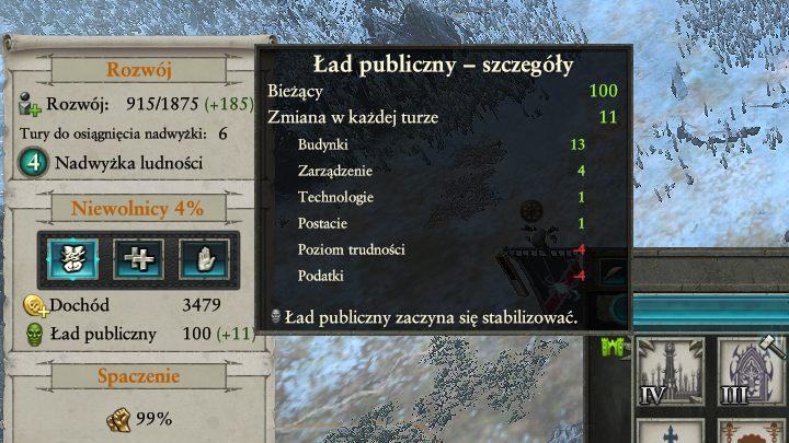 Dokładne informacje na temat wpływów poszczególnych czynników na ład publiczny znajdziesz po najechaniu na wskaźnik zmiany stanu. - Kontrola ładu publicznego i spaczenia | Rozgrywka na mapie kampanii - Total War: Warhammer II - poradnik do gry