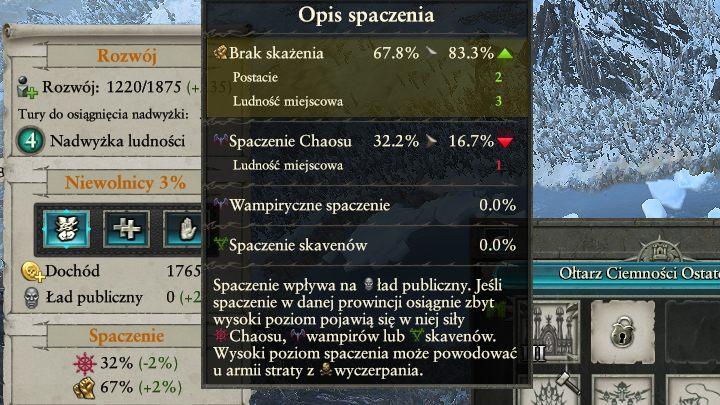 Spaczenie rozprzestrzenia się w podobny sposób co wyznania w historycznych odsłonach serii. - Kontrola ładu publicznego i spaczenia | Rozgrywka na mapie kampanii - Total War: Warhammer II - poradnik do gry