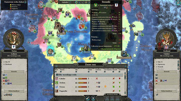 Na relacje między frakcjami ma wpływ szereg czynników. - Dyplomacja i handel | Rozgrywka na mapie kampanii - Total War: Warhammer II - poradnik do gry