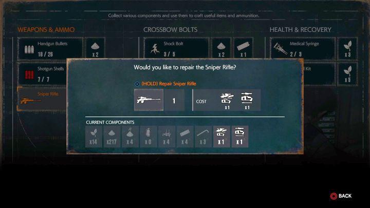 Gdy masz snajperkę i części, wystarczy tylko naprawić broń. - Jak zdobyć i naprawić Karabin Snajperski? - Evil Within 2 - poradnik do gry