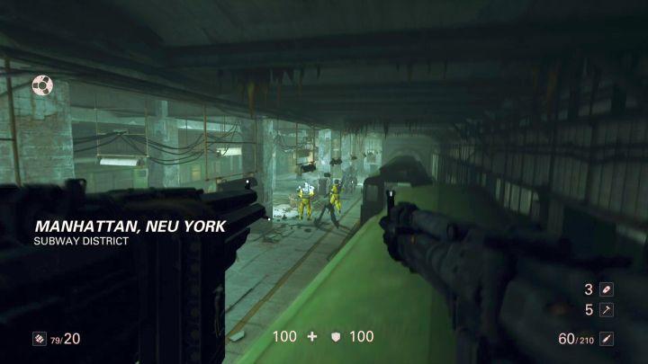Początek misji w metrze. - Misje überdowódców - Mahattan - Wolfenstein II: The New Colossus - poradnik do gry
