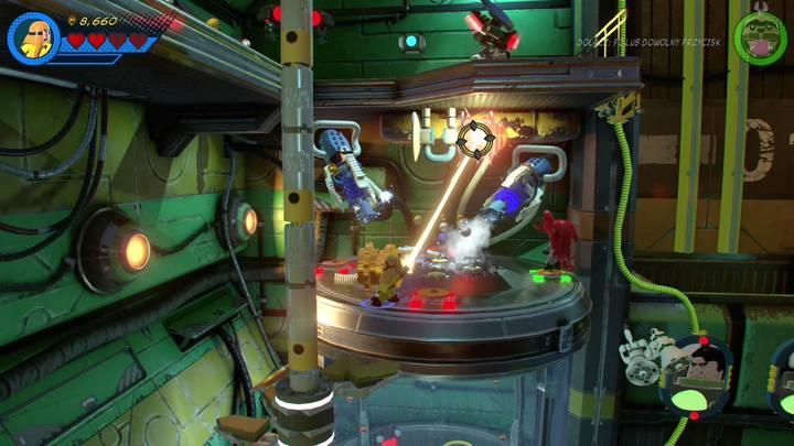 Ciągle korzystając z Crystal zniszcz złote zaczepy na ładujących do ciebie działach korzystając z lasera i ustaw cztery postacie na płytach naciskowych - Misja 13 - Błądzić jest rzeczą nieludzką | Solucja - LEGO Marvel Super Heroes 2 - poradnik do gry
