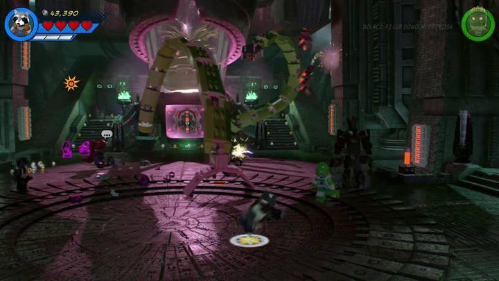 Trzecia faza walki z bossem rozpoczyna się od odzyskania kontroli nad postaciami Groota i Rocket Raccoona - Misja 14 - Halo, nie rób z tego halo | Solucja - LEGO Marvel Super Heroes 2 - poradnik do gry