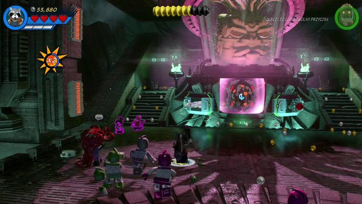 Po zniszczeniu mechanicznej łapy bossa, zmień postać na Rocket Raccoona i podejdź do pokazanego na obrazku miejsca - Misja 14 - Halo, nie rób z tego halo | Solucja - LEGO Marvel Super Heroes 2 - poradnik do gry