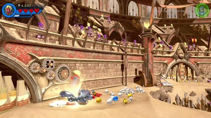 Po uwolnieniu Hulka przejdź na lewą stronę areny i zbuduj z klocków przełącznik - Misja 15 - Red King i jego ring | Solucja - LEGO Marvel Super Heroes 2 - poradnik do gry