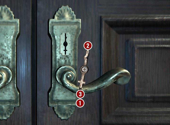 W trakcie tych manipulacji możesz sprawdzać, czy ustawiasz ząbki prawidłowo, obracając klucz tak, żeby było widać tylko jego końcówkę, i przyglądając się, czy jej przekrój pokrywa się z przekrojem zamka - Przeszukaj gabinet gospodarza | Solucja Black Mirror - Black Mirror - solucja, poradnik