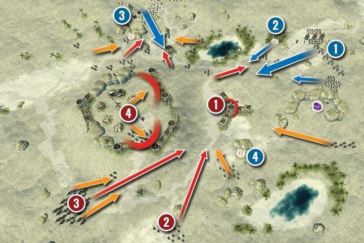 Sytuacja na mapie wygląda następująca - Misja 20 - Wzgórze Kerrash | Kampania - Hex Commander - poradnik do gry