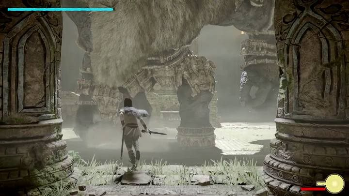 Na końcu schowaj się pod daszkiem i atakuj wroga z łuku, by przyciągnąć jego uwagę - Kolos 6 - Barba | Solucja Shadow of the Colossus - Shadow of the Colossus - poradnik do gry
