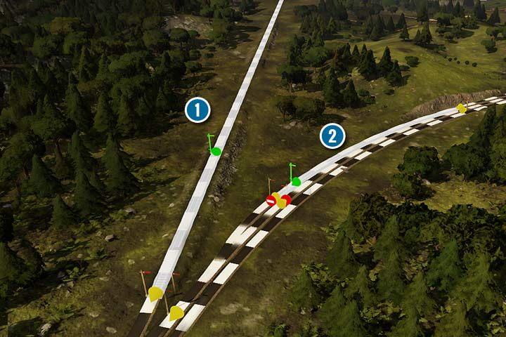Bloki, to odcinek torów, w którym pociąg może jeździć bez przeszkód. Każdy semafor, wieża czy stacja dzieli tory. Jeśli ustawisz tylko jeden wjazdowy sygnał to blok będzie długi (1). Przez cały ten odcinek, będzie jeździł tylko jeden pociąg. Gdy postawisz wiele semaforów to bloki będą krótsze i więcej pociągów będzie mogło podróżować po jednej trasie (2). - Sygnalizacja, sygnalizatory i semafory w Railway Empire - Railway Empire - poradnik do gry