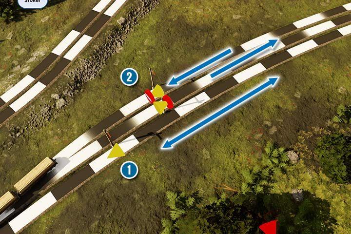 Zwykłe semafory pozwalają na jazdę w obu kierunkach (1), choć pociąg zatrzymuje się tylko przed nim (przed stożkiem wskazującym kierunek). Jeśli będzie jechał z przeciwnej strony, zignoruje sygnał. Semafory jednokierunkowe działają podobnie, ale blokują drogę dla pociągów nadjeżdżających z przeciwnej strony. Nie będziesz mógł nawet stworzyć trasy przy takich ustawieniach. Trasy będą płynąć, jeśli ustawisz ruch na danym docinku tylko w jednym kierunku. - Sygnalizacja, sygnalizatory i semafory w Railway Empire - Railway Empire - poradnik do gry