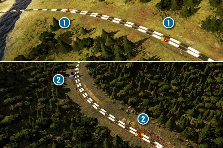Przy klasycznej bocznicy ustaw semafory jednokierunkowym tylko pod koniec każdego wjazdu (1). Jeśli zdecydujesz się użyć wieży zaopatrzeniowej, możesz ustawić ją na początku, ale w drugiej części musisz ustawić po jednym semaforze jednokierunkowym na obu torach (2). - Sygnalizacja, sygnalizatory i semafory w Railway Empire - Railway Empire - poradnik do gry