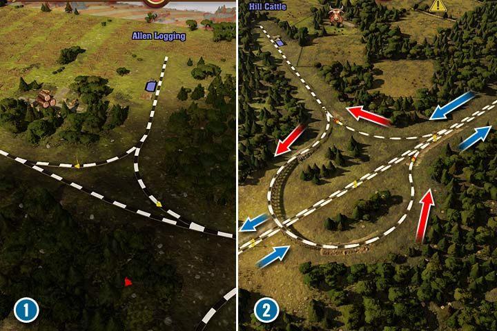 Proste połączenie wymaga podłączenie torów do głównej nitki i ustawienia semaforów przy każdym zjeździe (1). Jeśli chcesz połączyć linię do dużej, dwutorowej trasy, musisz podpiąć oddzielny tor do każdego kierunku (2). Niebieskie strzałki wskazują na kierunki na trasie głównej, a czerwone strzałki na kierunek trasy, która odbija/łączy się z główną nitką. - Sygnalizacja, sygnalizatory i semafory w Railway Empire - Railway Empire - poradnik do gry