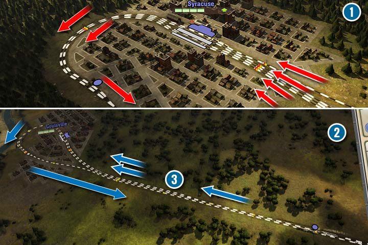 Przy naprawdę dużej liczbie pociągów, możesz zbudować kilka tras wejściowych, ale przy wyjeżdzie łączyć trasy sukcesywnie (1). Czyli w przypadku 4, połączyć najpierw po 2, a potem w jeden tor, który wróci do głównej nitki dwutorowej. Możesz też w ten sam sposób dzielić główny tor, na mniejsze, aby wykorzystać większą ilość peronów (2). W pewnej odległości przed stacją, zbuduj dodatkowy tor(y), aby rozładować ruch przed samą stacją (3). W ten sposób pociągi skrócą czas na zajęcie peronu. - Sygnalizacja, sygnalizatory i semafory w Railway Empire - Railway Empire - poradnik do gry