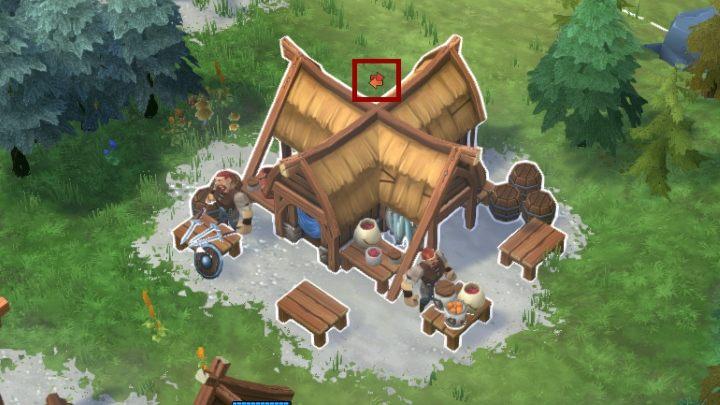 Ikona znajdująca się nad składem handlowym informuje o dostępnym szlaku handlowym. - Northgard - Finanse | Mechanika gry - Northgard - poradnik do gry