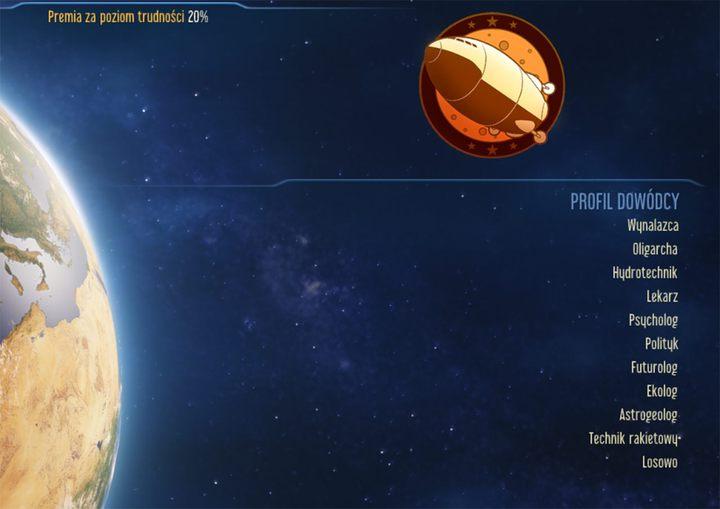 Wybór profilu dowódcy, tak samo jak wybór sponsora misji, ma wpływ na poziom trudności gry - Wybór profilu dowódcy w Surviving Mars | Porady na start - Surviving Mars - poradnik do gry
