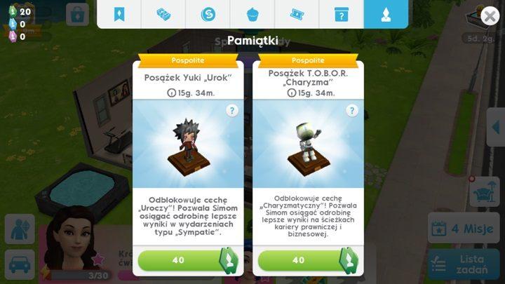 Cechy charakteru możesz odblokować kupując specjalne posążki, za specjalne kupony - Cechy | Tworzenie Sima i jego rozwój - The Sims Mobile - poradnik do gry