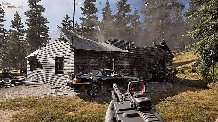 Na potrzeby odnalezienia skarbu musisz przedostać się do wnętrza zniszczonego domu i jest to dość kłopotliwe - Lokacje kultu i skrytki prepperskie | Dolina Holland - Far Cry 5 - poradnik do gry