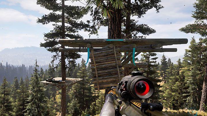 Jedynym sposobem na dotarcie do skarbu jest zjeżdżanie po kolejnych linach i pierwsza z nich jest przymocowana do wieży widokowej - Lokacje kultu i skrytki prepperskie | Dolina Holland - Far Cry 5 - poradnik do gry