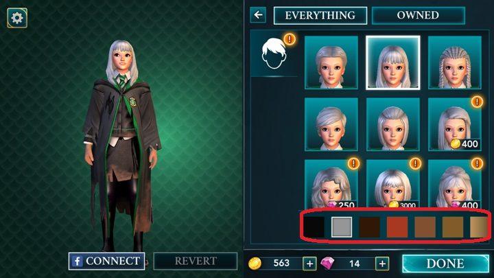 Wybierając fryzurę możesz kliknąć w przycisk zaznaczony na screenie i dobrać odpowiedni kolor włosów dla swojego bohatera - Tworzenie postaci w Harry Potter i Tajemnica Hogwartu - Harry Potter i Tajemnica Hogwartu - poradnik do gry