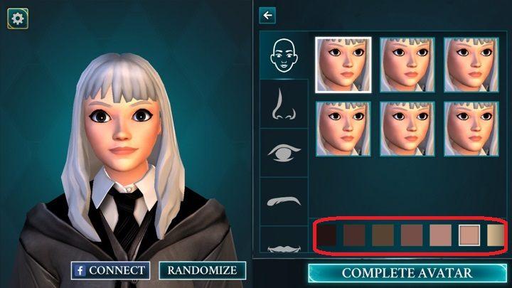Kolor skóry możesz wybrać tworząc twarz swojej postaci - Tworzenie postaci w Harry Potter i Tajemnica Hogwartu - Harry Potter i Tajemnica Hogwartu - poradnik do gry