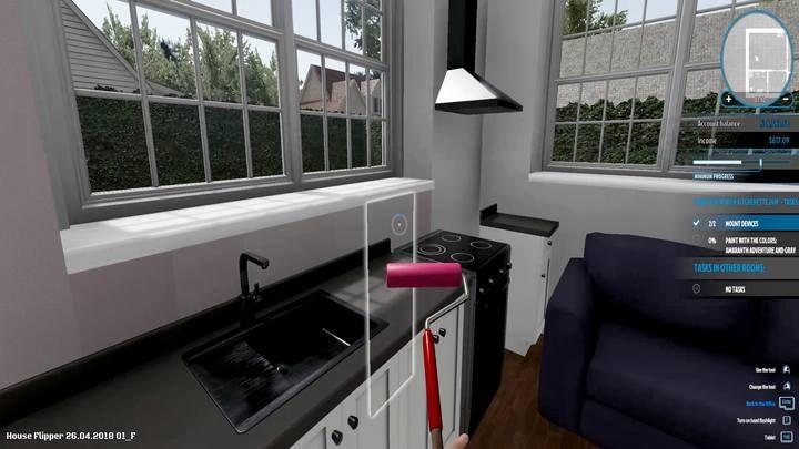 Łatwo jest przypadkiem pominąć fragmenty pod oknami, gdy są przysłonięte meblami - Zlecenie Amanda Jonson, solucja, House Flipper - House Flipper - poradnik do gry