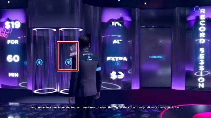 Pierwszy android stoi naprzeciwko wyjścia z pokoju (oznaczony numerem 9) - Klub Eden | Connor | Solucja - Detroit Become Human - poradnik do gry