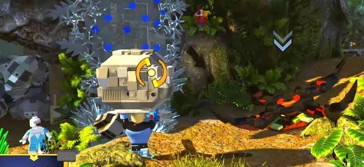 Wyceluj, przytrzymując atak, by trafić głazem w roślinę-pułakę stojącą na drodze - Poziom 9 - Wyspa Nomanisan | Opis przejścia LEGO Iniemamocni - LEGO Iniemamocni - poradnik do gry
