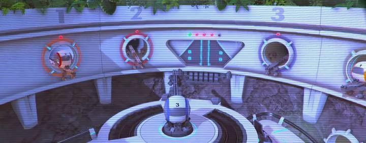 Ułóż kapsuły zgodnie z kolorami ich stacji - Światłomił może korzystać z terminalów, w przeciwieństwie do Pana Iniemamocnego - Poziom 10 - Powrót na Wyspę Nomanisan | Opis przejścia LEGO Iniemamocni - LEGO Iniemamocni - poradnik do gry