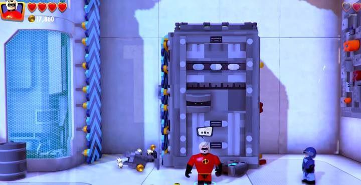 Podnieś blok i przenieś go w lewo, by Światłomił mógł wspiąć się do góry - Poziom 10 - Powrót na Wyspę Nomanisan | Opis przejścia LEGO Iniemamocni - LEGO Iniemamocni - poradnik do gry