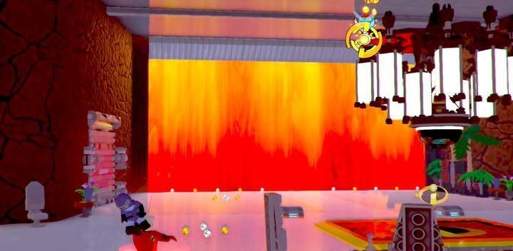 Podrzuć Światłomiła na żyrandol - to pierwsza czynność jaką musisz wykonać - Poziom 10 - Powrót na Wyspę Nomanisan | Opis przejścia LEGO Iniemamocni - LEGO Iniemamocni - poradnik do gry