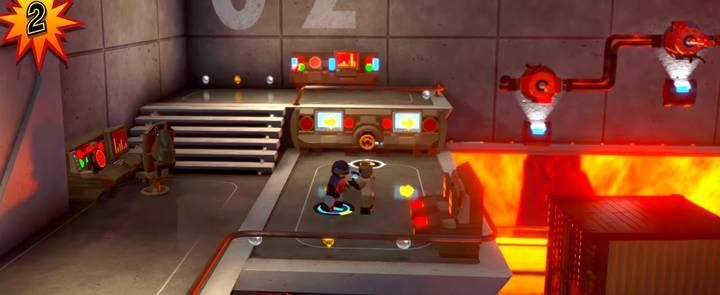 Użyj zaworu w głównym terminalu, by zmienić kierunek poruszania się taśmy - Poziom 10 - Powrót na Wyspę Nomanisan | Opis przejścia LEGO Iniemamocni - LEGO Iniemamocni - poradnik do gry