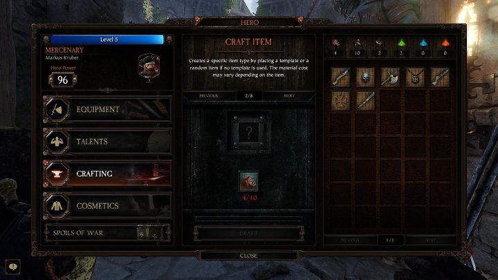 Zakładka Stwórz przedmiot pozwala na stworzenie dowolnego, nowego przedmiotu - Crafting w Warhammer Vermintide 2 - Warhammer Vermintide 2 - poradnik do gry