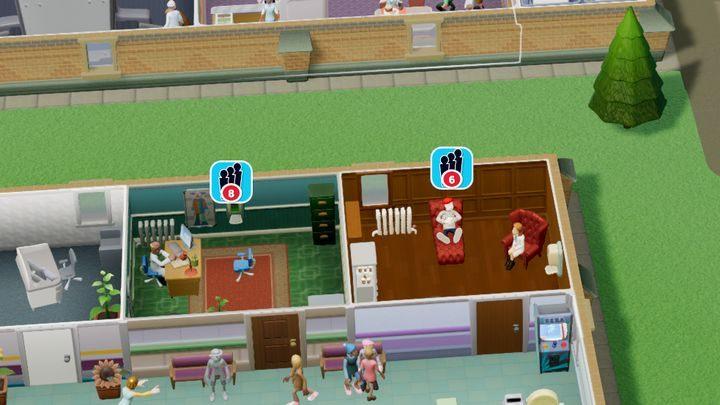 Ikona świadcząca o zbyt długiej kolejce. - Gabinety i pomieszczenia w Two Point Hospital - Two Point Hospital - poradnik do gry