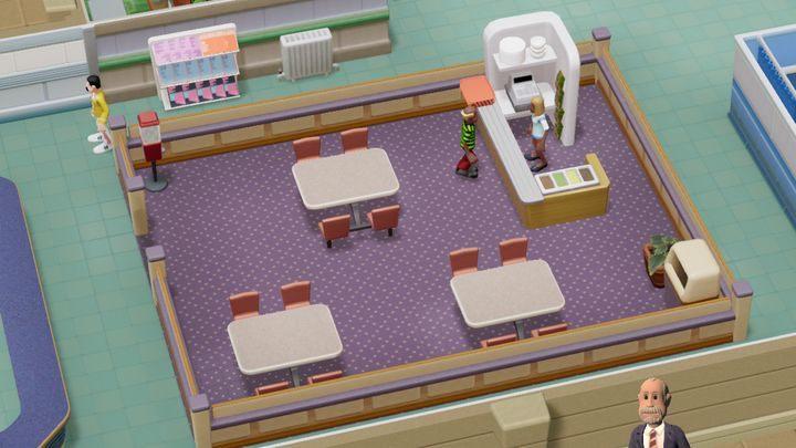 Automaty z jedzeniem są dobre jako doraźny środek do zwalczania głodu i pragnienia - Gabinety i pomieszczenia w Two Point Hospital - Two Point Hospital - poradnik do gry