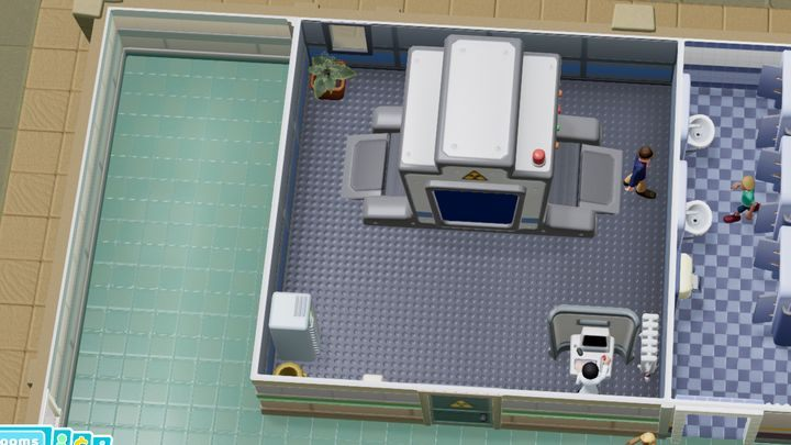 Jest to pomieszczenie diagnostyczne, w którym wykorzystywany jest aparat rentgenowski - Gabinety i pomieszczenia w Two Point Hospital - Two Point Hospital - poradnik do gry