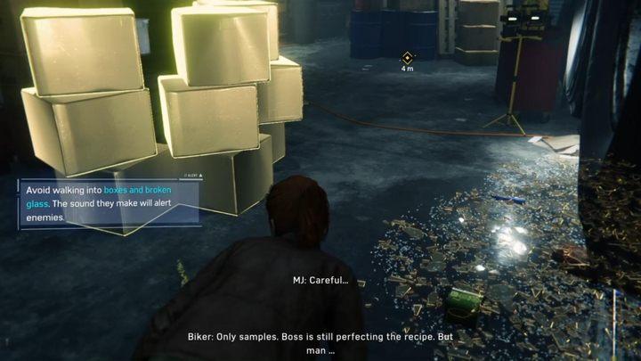 Idź w lewo, miń strażnika nad tobą i przejdź między pudełkami i szkłem - Randka - Solucja Marvels Spider-Man - Marvels Spider-Man - poradnik do gry