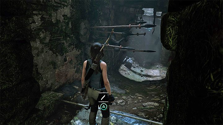 Tuż po odblokowaniu przejścia wykonaj kilka kroków do przodu i zatrzymaj się przy pokazanej na obrazku rozwiniętej przy ziemi linie - Zbadanie ruin świątyni w Cozumel - Solucja Shadow of the Tomb Raider - Shadow of the Tomb Raider - poradnik do gry