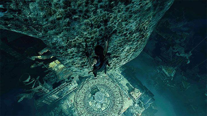 Możesz już doskoczyć do nowej konstrukcji z dzwonem i następnie do znajdującej się obok nowej wiszącej drabinki - Zbadanie ruin świątyni w Cozumel - Solucja Shadow of the Tomb Raider - Shadow of the Tomb Raider - poradnik do gry