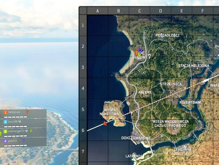 Proste znaczniki umieszczone na mapie pomagają kierować drużyną; dobrą praktyką jest przy rozpoczęciu rundy ustalanie znacznika jako propozycji miejsca zrzutu dla drużyny - Porady - Tryb Blackout w Call of Duty Black Ops 4 - Call of Duty Black Ops 4 - poradnik do gry