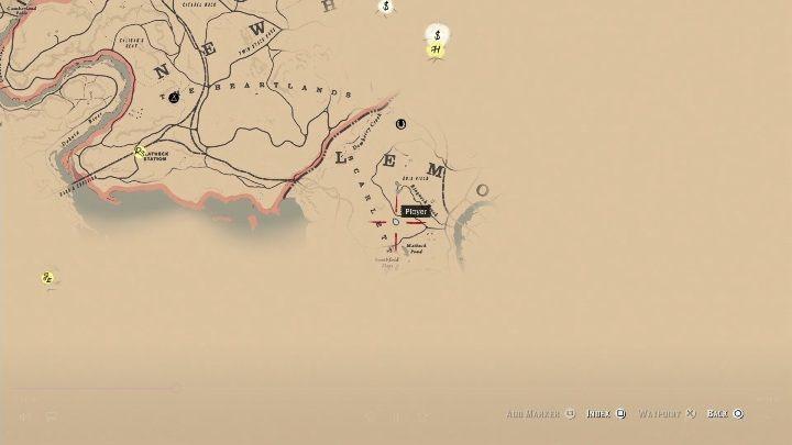 Drugą mapę znajdziesz w południowej części mapy, na zachód od miasta Saint Denis - Jak zdobyć sztabkę złota i gdzie ją sprzedać w Red Dead Redemption 2? - Red Dead Redemption 2 - poradnik do gry