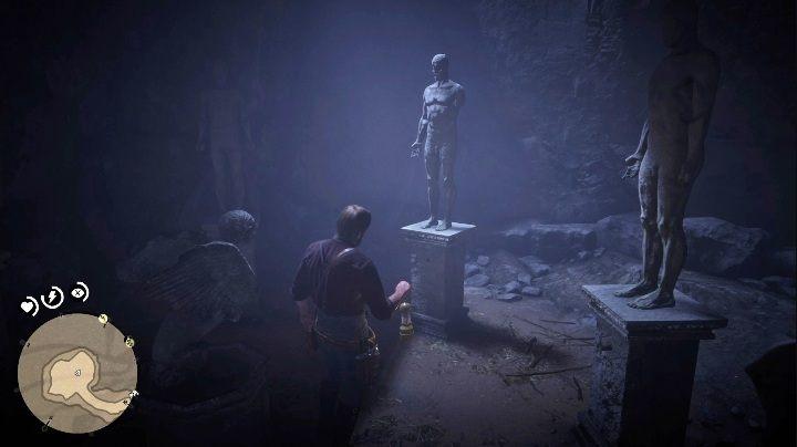 Aby rozwiązać tę zagadkę musisz przyjrzeć się ilości palców każdego z posągów - Jak zdobyć sztabkę złota i gdzie ją sprzedać w Red Dead Redemption 2? - Red Dead Redemption 2 - poradnik do gry