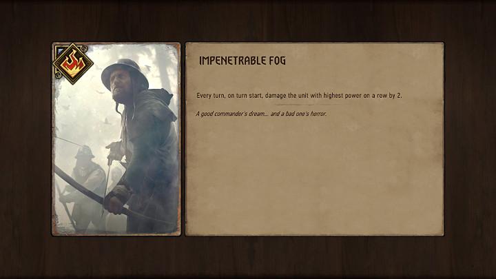 Gęsta mgła sprawia, że na początku każdej tury, najsilniejsze jednostki w danym rzędzie otrzymują 2 punkty obrażeń - Karty pogodowe w Wojna Krwi Wiedźmińskie Opowieści - Wojna Krwi Wiedźmińskie Opowieści - poradnik do gry